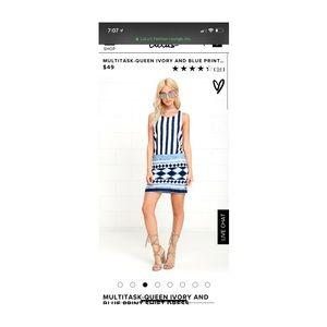 Lulu's Dresses - Lulu's blue and white shift dress size small